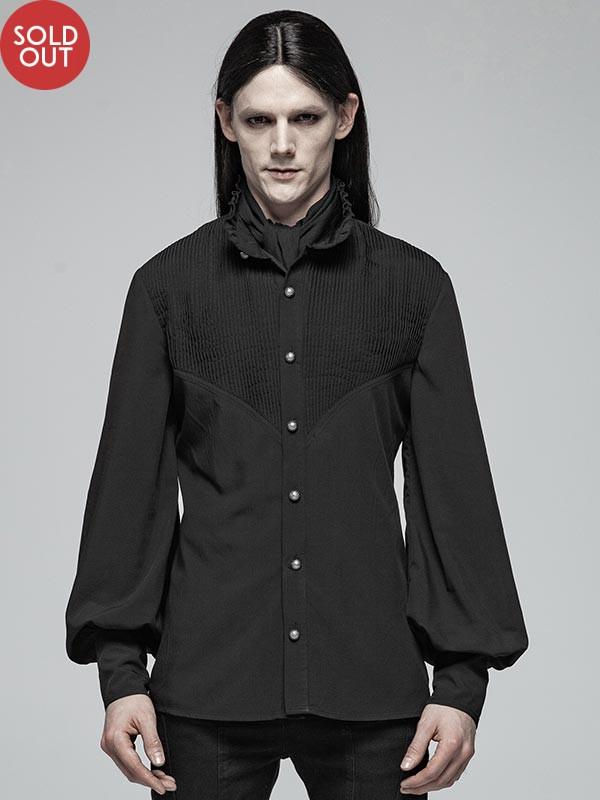 Mens Gothic Daily Wear Lantern Sleeve Black Shirt