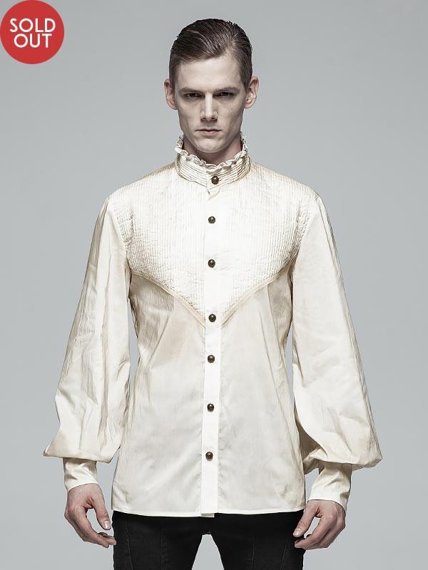 Mens Gothic Daily Wear Lantern Sleeve Off-White Shirt