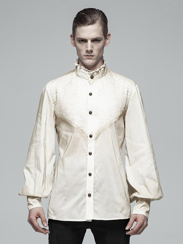 Mens Gothic Daily Wear Lantern Sleeve Off-White Shirt