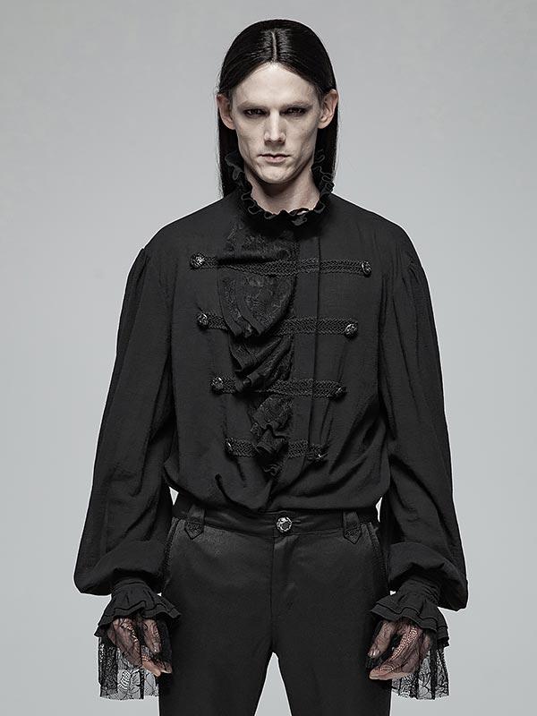 Mens Gothic Partial Placket Lotus Leaf Loose Black Shirt