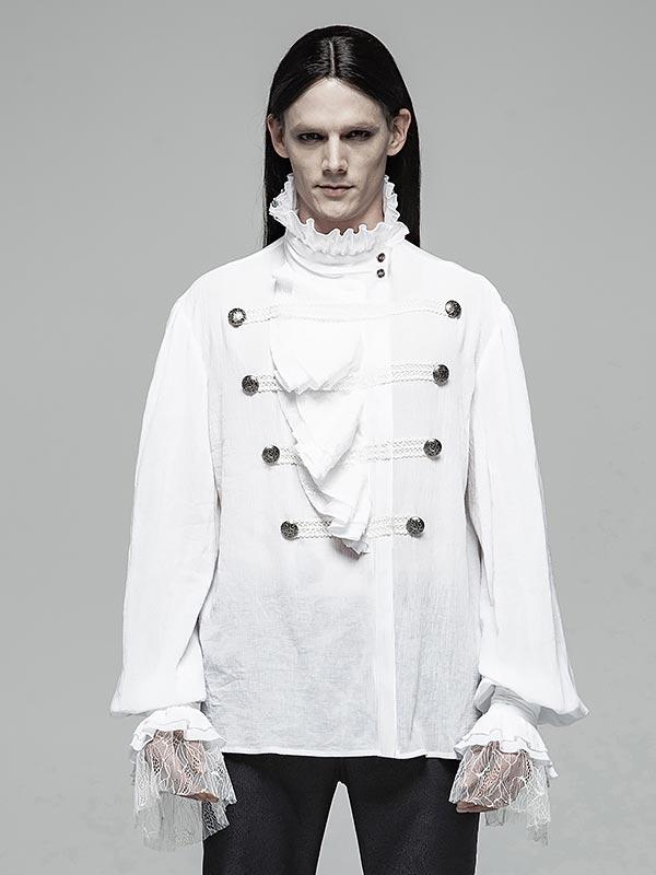 Mens Gothic Partial Placket Lotus Leaf Loose White Shirt