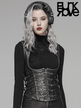 Punk Skeletal Leather Underbust Waistcoat