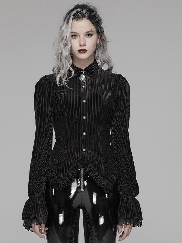 Gothic Dark Grain Velvet Shirt - Black