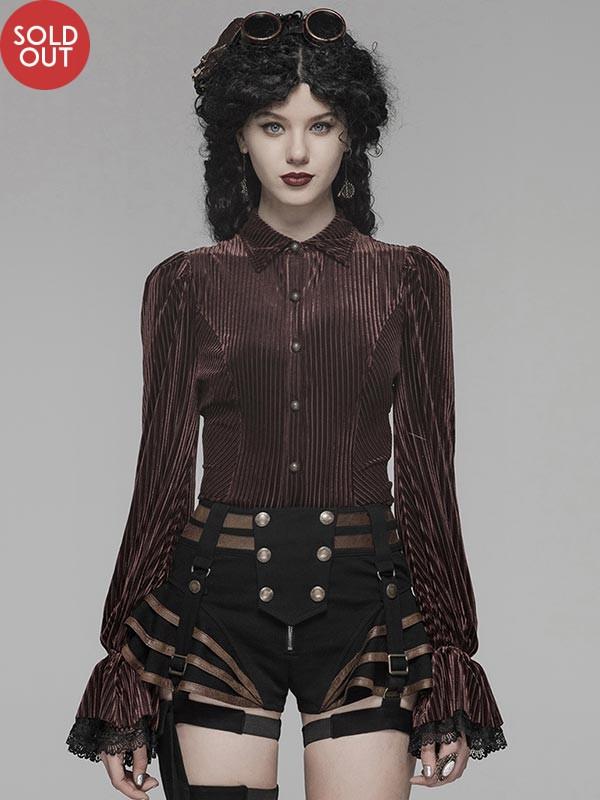 Gothic Dark Grain Velvet Shirt - Coffee