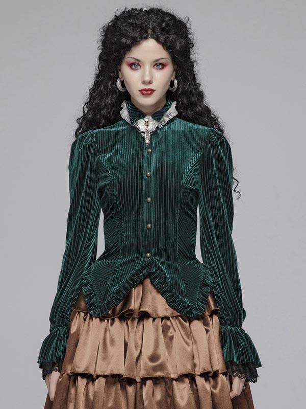 Gothic Dark Grain Velvet Shirt - Green
