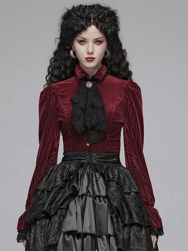 Gothic Dark Grain Velvet Shirt - Red