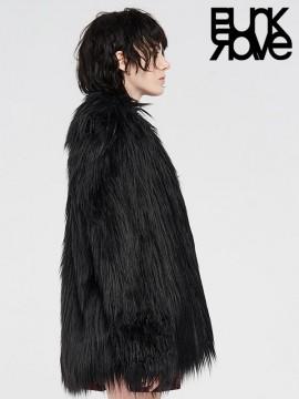 Punk Long Fur Coat - Black