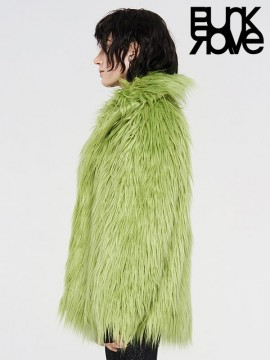 Punk Long Fur Coat - Neon Green