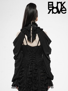 The Queen's Gift Gorgeous Off-The-Shoulder Long Sleeve Black Shawl
