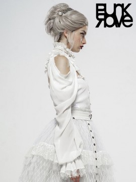 The Queen's Gift Gorgeous Off-The-Shoulder Long Sleeve White Shawl