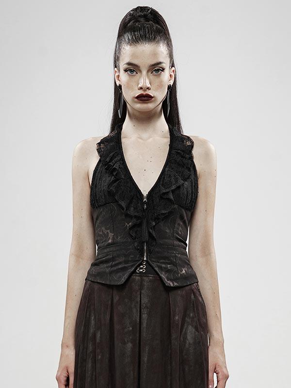 Black Gold Dark Flower Sleeveless Vest