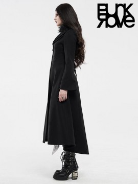 Gothic Detachable Fur Trim Collar Long Coat - Black