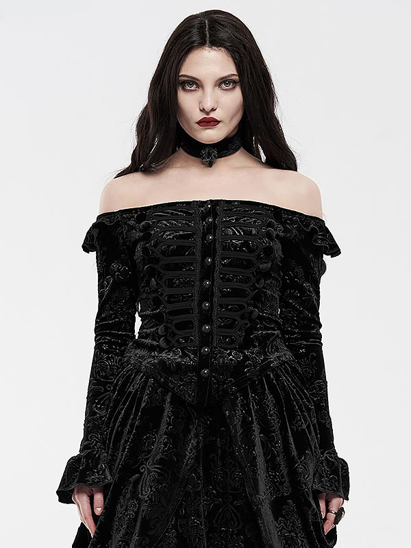 Victorian Royal Palace Velvet Top - Black