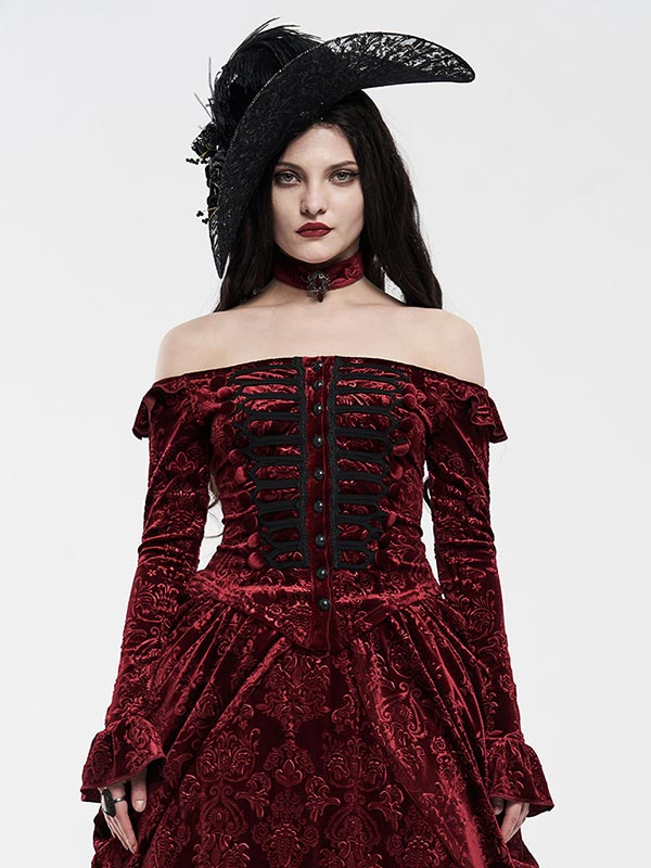 Victorian Royal Palace Velvet Top - Red
