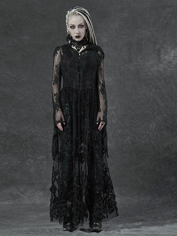 Gothic 3D Embroidered Lace Long Coat