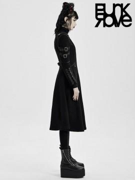 Punk Cyber Military Long Coat - Black