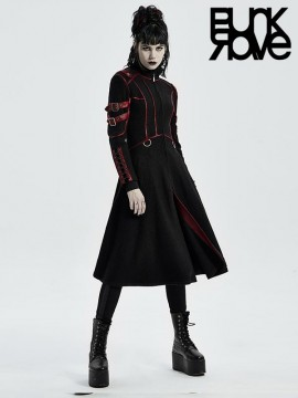 Punk Cyber Military Long Coat - Black & Red