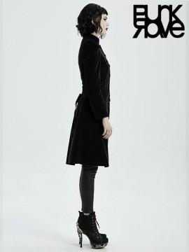 Goth Mid-Length Velvet Coat - Black