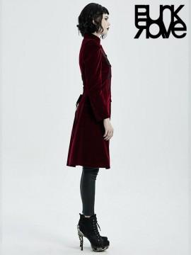 Goth Mid-Length Velvet Coat - Red