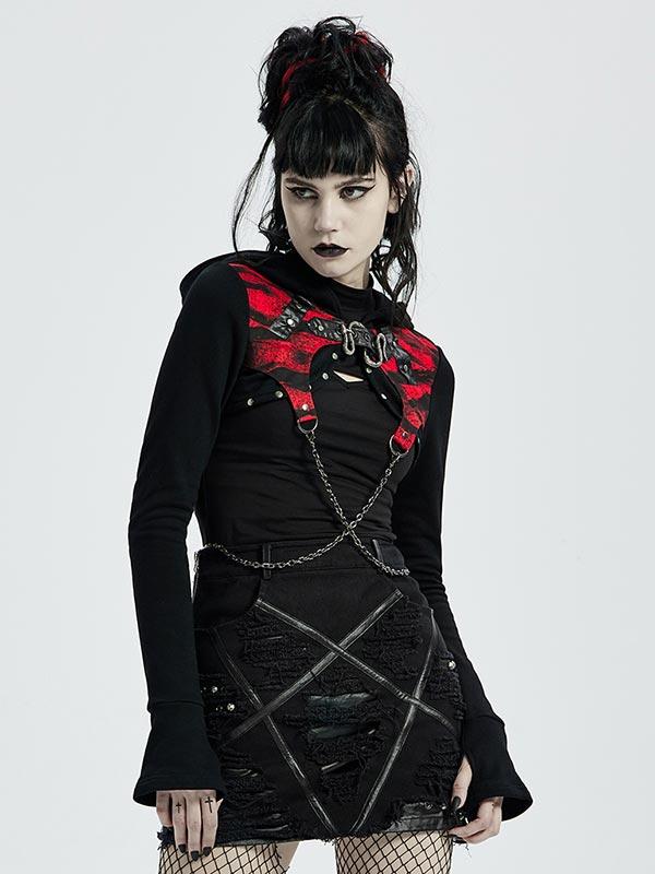 Punk Chain Link Crop Hoodie Jacket - Black & Red