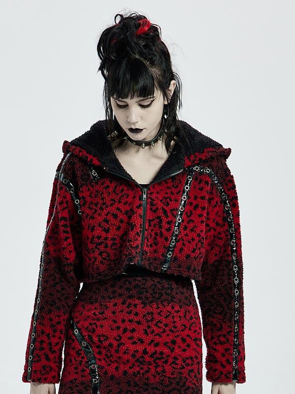 Punk Black & Red Leopard Print Short Hoodie Jacket