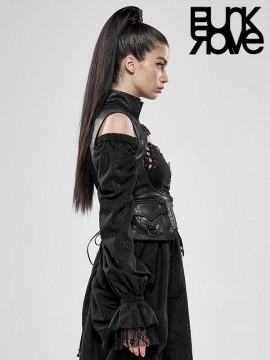 Steampunk Beyond Time Vintage Black Leather Vest
