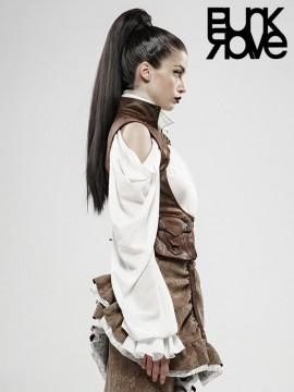 Steampunk Beyond Time Vintage Coffee Leather Vest