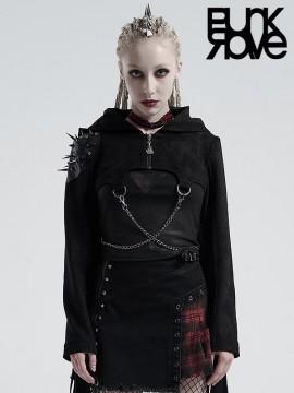 Punk Tassel & Metal Rivet Crop Hoodie Jacket