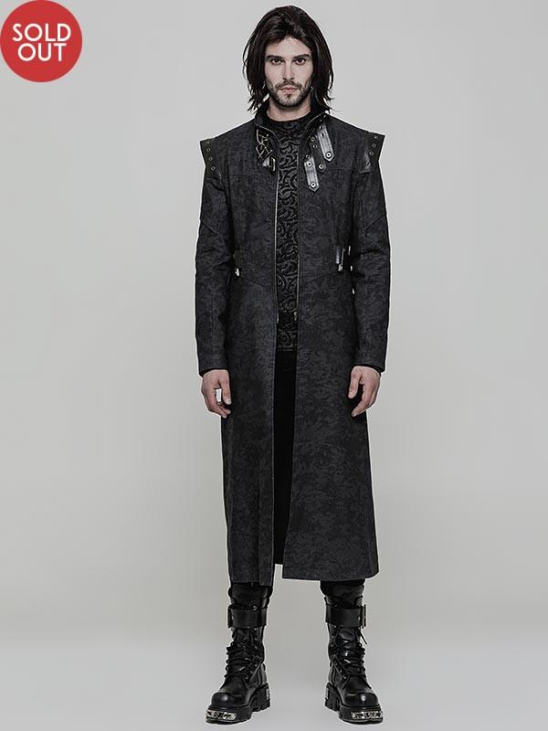 Mens Punk Military Long Coat