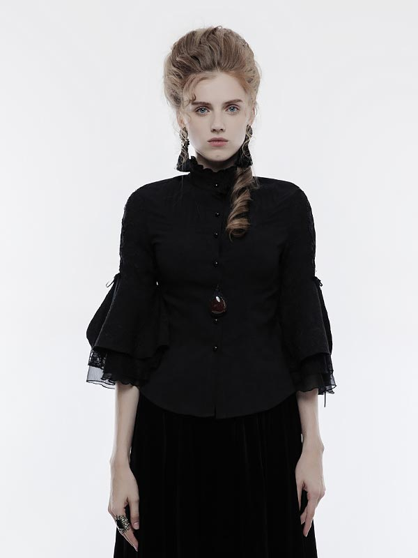 Gothic Cropped Sleeve Shirt