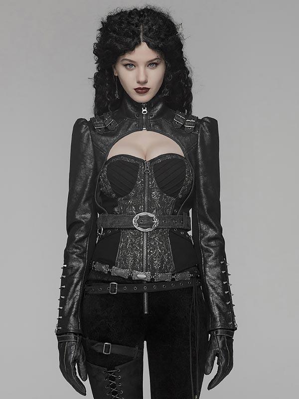Steampunk Short Jacket - Black