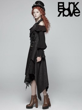 Gothic Sleeveless Vest with Detachable Train