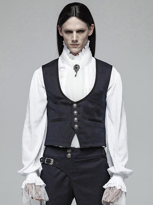 Mens Gothic Gentlemen's Simple Blue Vest
