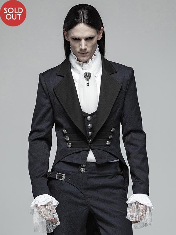 Mens Gothic Gentlemen's Mid-Length Split Tail Tuxedo Jacket