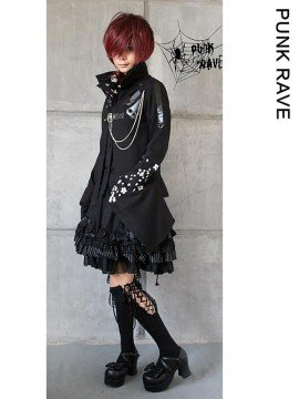 Gothic Floral & Skull Print Sweater Jacket