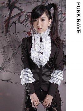 Gothic Lolita Ruffled Fan Flower Long Sleeve Blouse