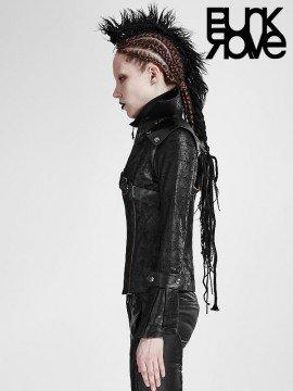 Gothic Rider Leather Coat - Black
