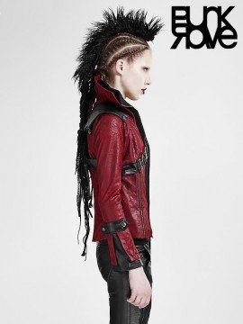 Gothic Rider Leather Coat - Red