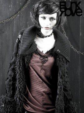 Unisex Gothic Woolly Fur Long Coat