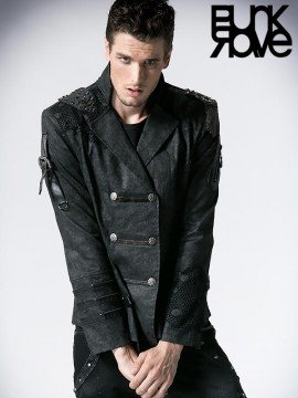 Mens Gothic Double Breasted Military Style Jacket