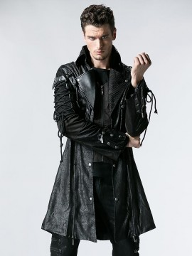 Mens Gothic Fake Two Piece Leather Coat - Black