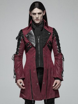 Mens Gothic Fake Two Piece Leather Coat - Red