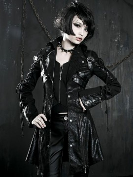 Gothic Fake Two Piece Leather Coat - Black