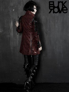 Gothic Fake Two Piece Leather Coat - Red