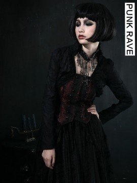 Victorian Gothic Black & Red Embroidered Short Jacket