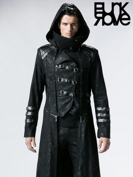 Mens Gothic Military Scorpion Embossed Leather Hooded Long Coat