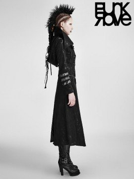Gothic Military Scorpion Embossed Leather Hooded Long Coat