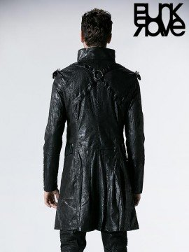 Mens Gothic Military Double Breasted Leather Coat