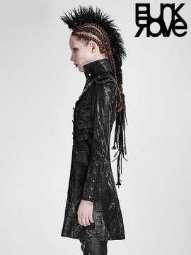 Gothic Military Double Breasted Leather Coat