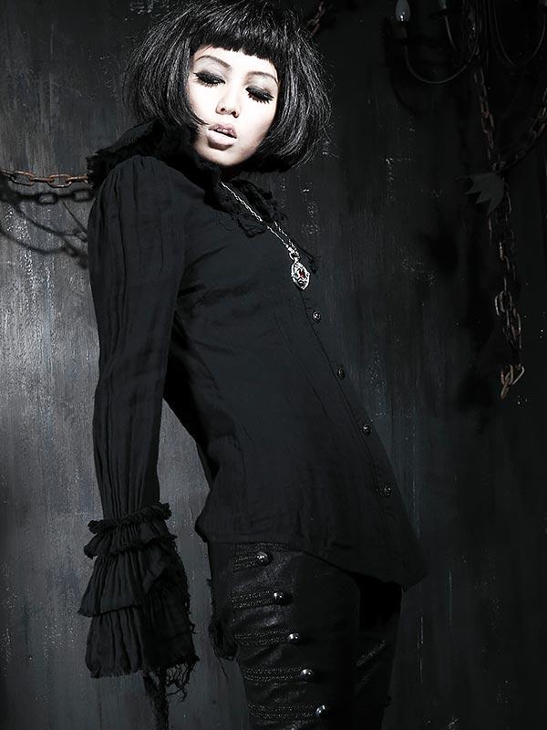 Gothic Lolita Ruffle Collar Long Sleeve Shirt